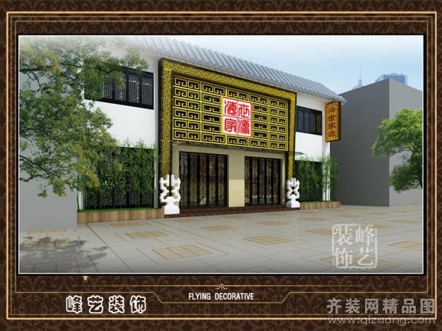 商河饭店门头设计装修设计案例