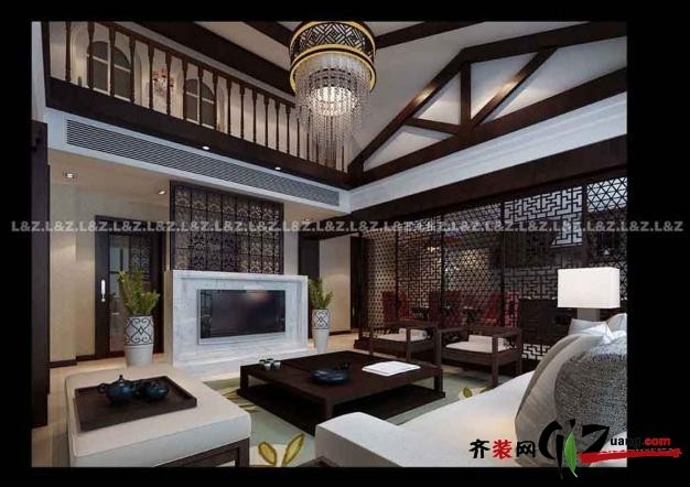 320平米别墅中式风格家装装修图片设计-无锡齐装网
