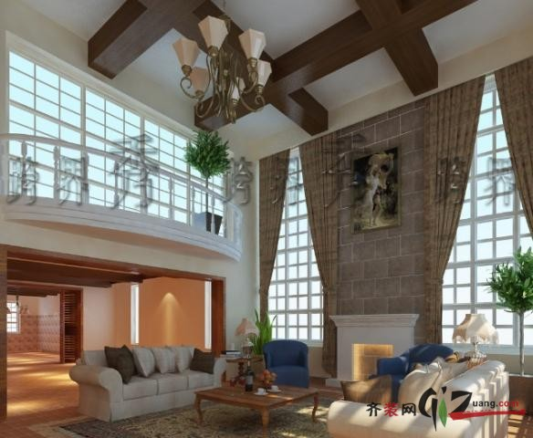 300平米別墅田園風格家裝裝修圖片設計-濟南齊裝網