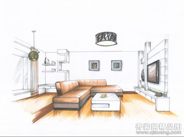 银湖翡翠手绘图现代简约装修效果图实景图