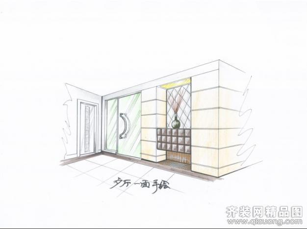 两点透视客厅手绘图马克笔