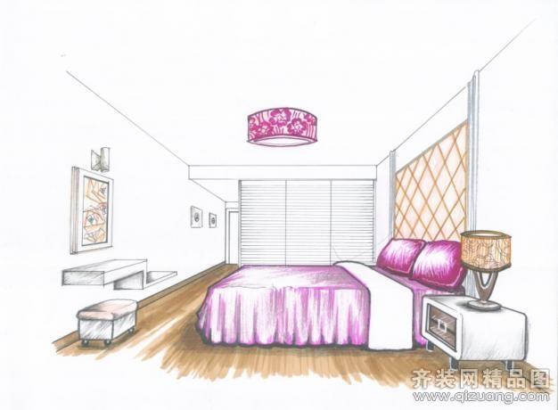 两点透视室内手绘图东南亚风格