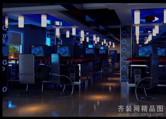 腾龙网吧现代简约装修效果图实景图