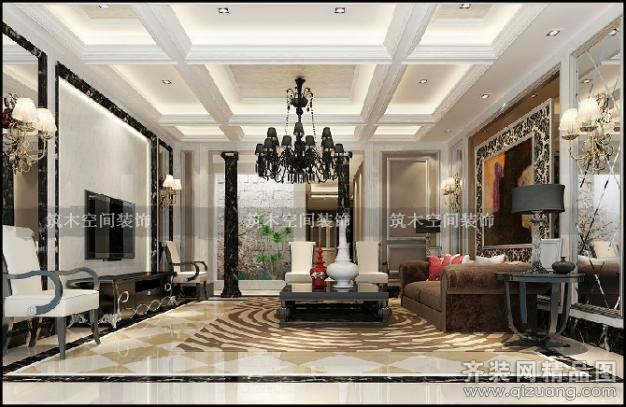 380平米别墅欧式风格家装装修图片设计-湖州齐装网