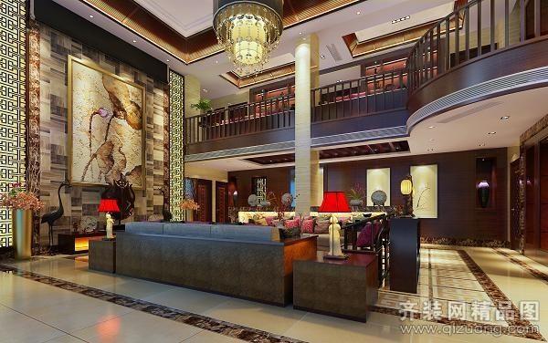 350平米别墅中式风格家装装修图片设计-台州齐装网