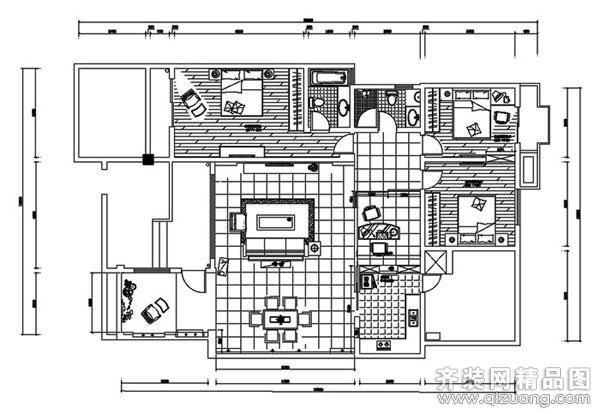 130平米普通户型中式风格家装装修图片设计-重庆齐装