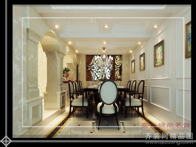 300平米别墅欧式风格家装装修图片设计-嘉善齐装网