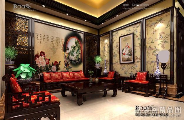 320平米别墅中式风格家装装修图片设计-合肥齐装网