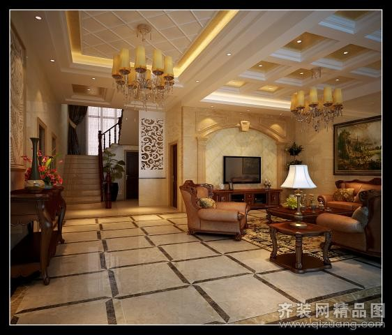 500平米别墅欧式风格家装装修图片设计-吴江齐装网