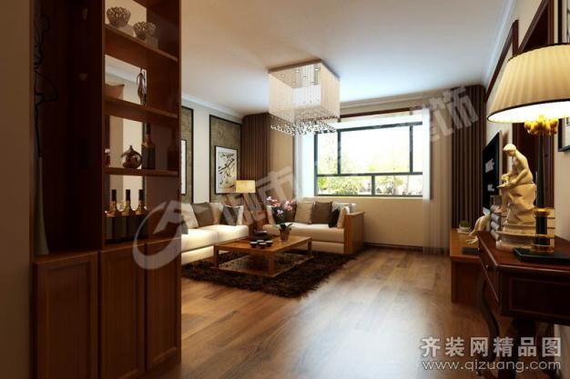 125平米普通户型中式风格家装装修图片设计-青岛齐装