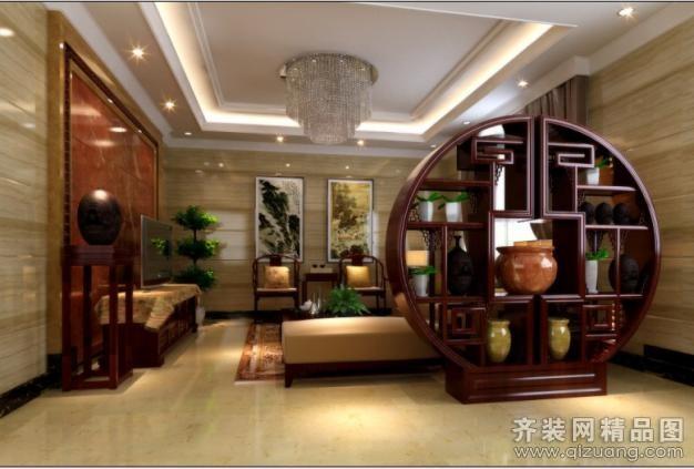 360平米别墅中式风格家装装修图片设计-广州齐装网