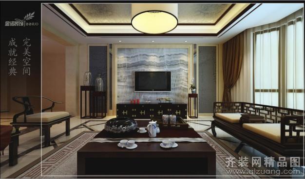 360平米别墅中式风格家装装修图片设计-苏州齐装网