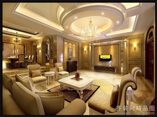 444平米别墅欧式风格家装装修图片设计-台州齐装网