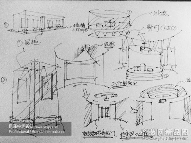艺术展厅手绘线稿