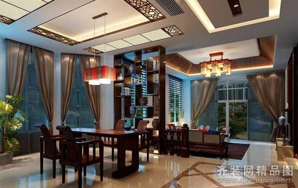 220平米复式户型中式风格家装装修图片设计-郑州齐装