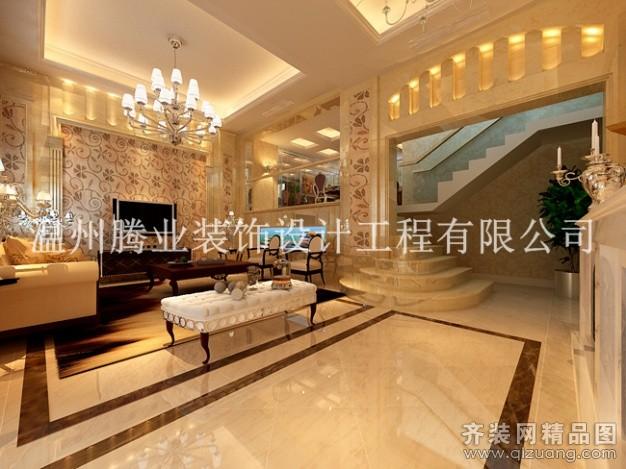 300平米别墅现代简约家装装修图片设计-温州齐装网