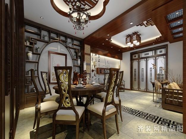 武汉中国院子220平米别墅中式风格家装装修图片设计