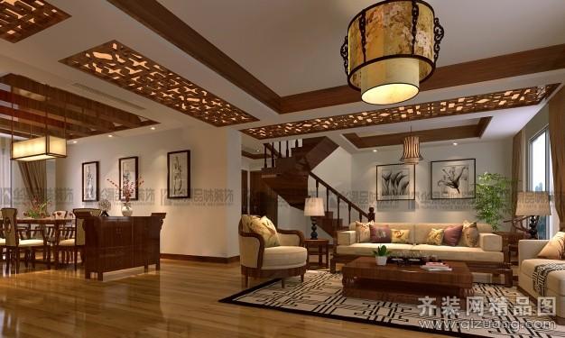 240平米复式户型中式风格家装装修图片设计-连云港齐