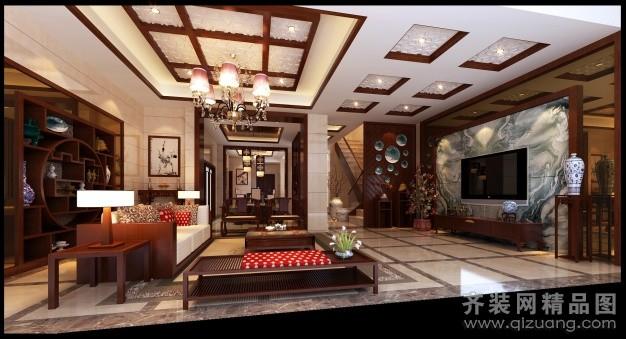 280平米别墅中式风格家装装修图片设计-姜堰齐装网