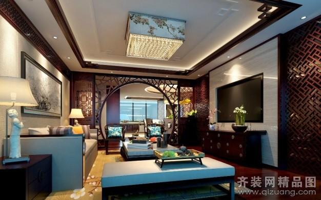 250平米别墅中式风格家装装修图片设计-扬州齐装网