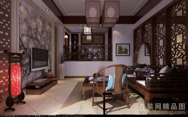 220平米别墅中式风格家装装修图片设计-淮安齐装网