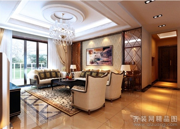 合肥别墅客厅装修效果图 现代欧式别墅装修作品