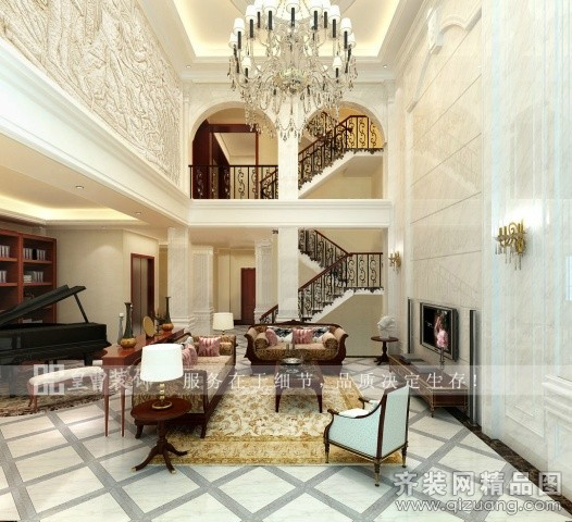 280平米别墅欧式风格家装装修图片设计-厦门齐装网