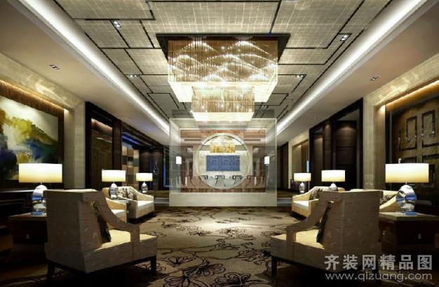 青岛万丽酒店-5星级中式风格装修效果图实景图