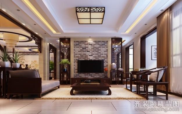 410平米别墅中式风格家装装修图片设计-呼和浩特齐装