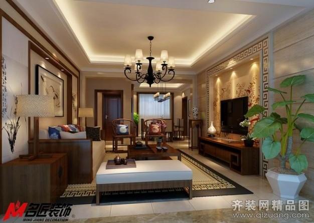 105平米普通户型中式风格家装装修图片设计-宜兴齐装