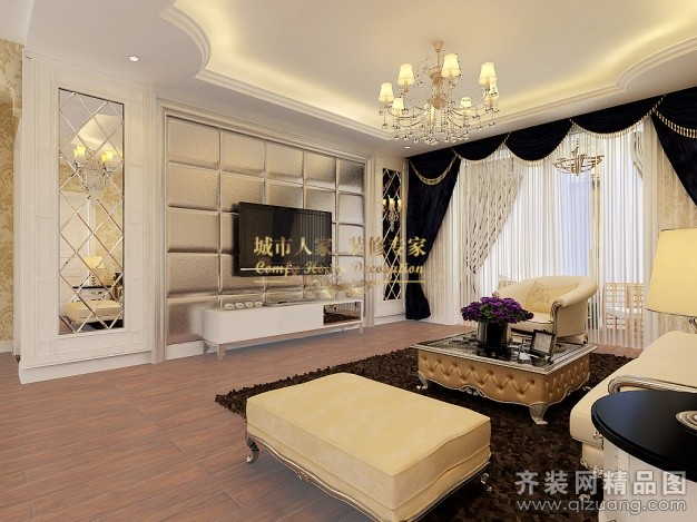 120平米普通户型现代简约家装装修图片设计-郑州齐装