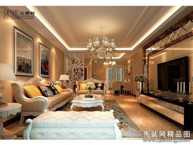 118平米普通户型欧式风格家装装修图片设计-无锡齐装