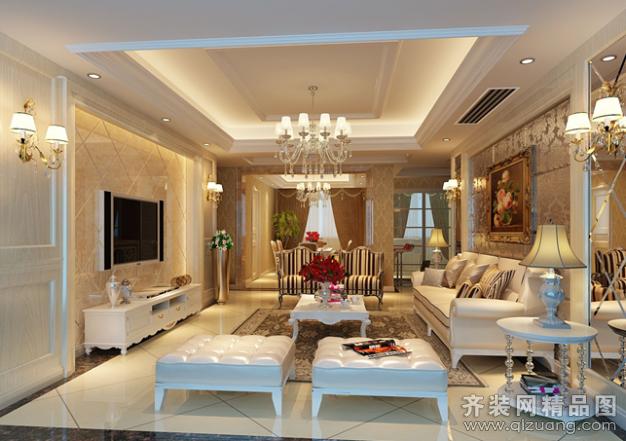 110平米普通户型欧式风格家装装修图片设计-张家港齐