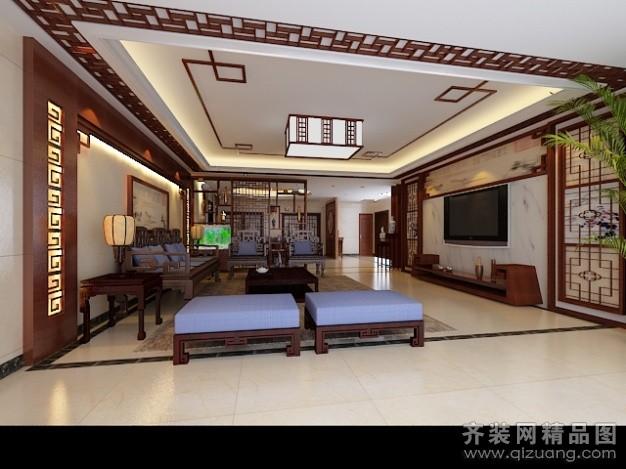 250平米别墅中式风格家装装修图片设计-广州齐装网