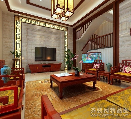 340平米别墅中式风格家装装修图片设计-徐州齐装网