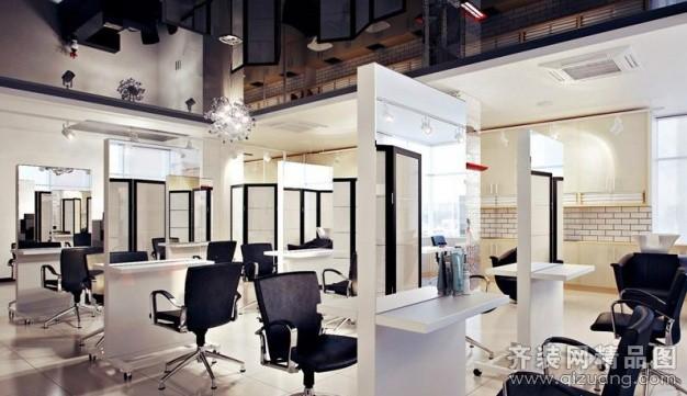 美发店现代简约装修效果图实景图
