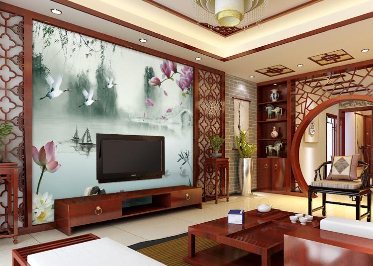 中式电视墙纸壁纸装修