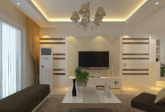 下面这幅图就充分利用电视背景墙的设计元素,将隐形门装饰的和另一边