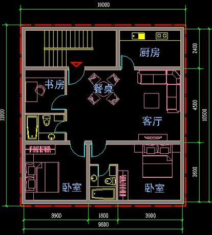 房屋装修电路走线平面图