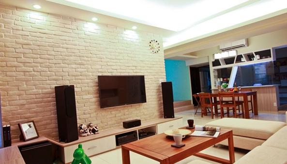 用砖墙装饰客厅的背景,不要太美哦
