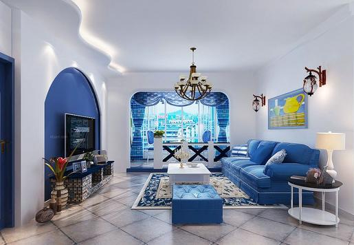 地中海风格样板房,蓝白经典演绎!