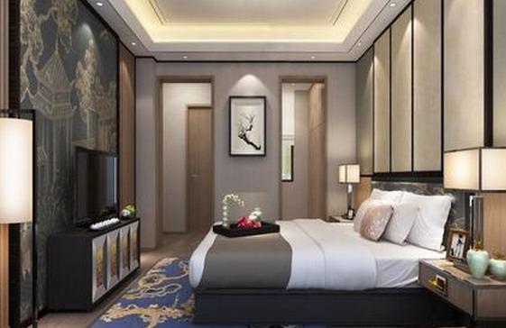 在设计样板房时,新中式风格也是一种常见的装修风格,传统文化氛围不同