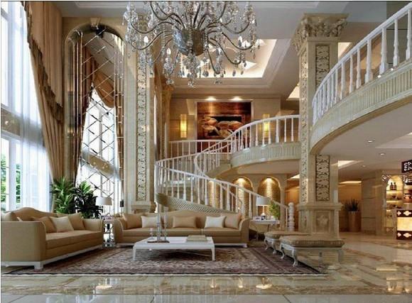 这种吊顶富于变化和动感,给人耳目一新的美感,别墅和大户型房子较为